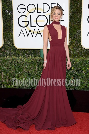 Christine Evangelista Burgundy Deep V Sweep Train Evening Dress 2017 Golden Globes