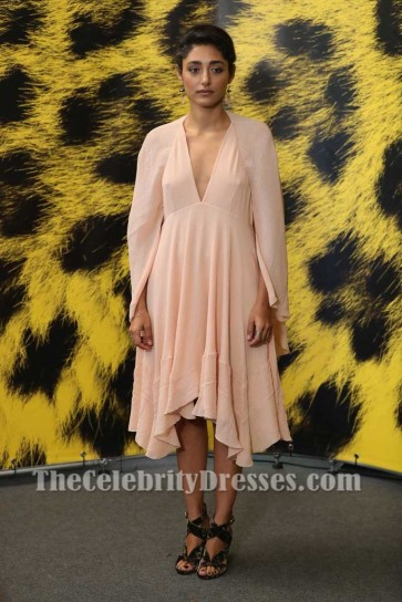 Golshifteh Farahani  Pink Caped Sleeves Chiffon Party Dress 70th Locarno Film Festival