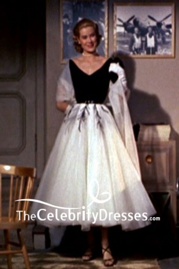 Grace Kelly Black And White Cap Sleeves Embroidery Dress In Movie Rear Window