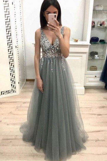 Gray Luxury Beaded V-neck Prom Dress