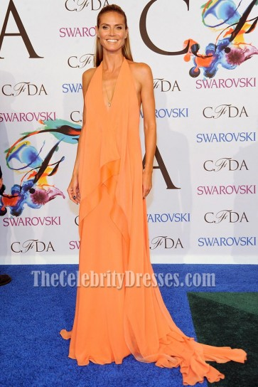 Heidi Klum Halter Deep V-neck Evening Prom Gown 2014 CFDA Fashion Awards  4