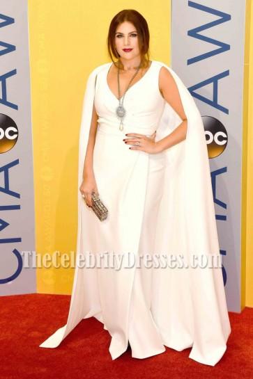 Hillary Scott White Wrap Evening Dress 50th Annual CMA Awards