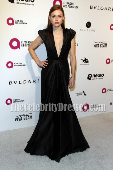 Holland Roden Black Plunging Evening Prom Dress 24th Annual Elton John AIDS Foundation's Oscar Viewing Party 3