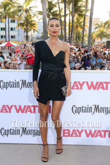 Ilfenesh Hadera Black Sexy One-shouler Wrap Mini Dress Premiere Of Baywatch