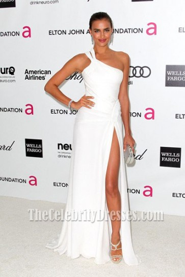 IRINA SHAYK White One Shoulder Prom Dress 2012 OSCAR After Party