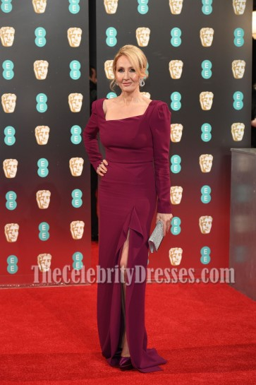 J. K. Rowling Square Neck High Slit Evening Prom Gown 2017 BAFTA Red Carpet Dress