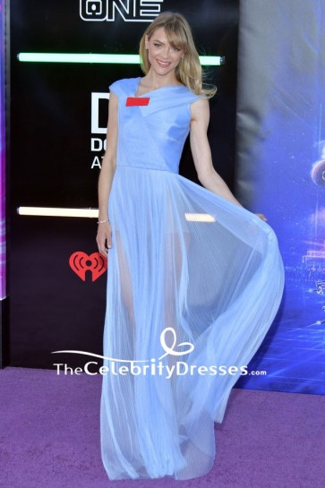 Jaime King Sky Blue Sheer See-through Evening Formal Dress  Premiere of Ready Player One