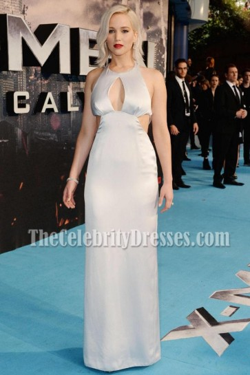 Jennifer Lawrence Silver Multi-cutout Column Evening Dress X-Men Apocalypse Premiere 2016