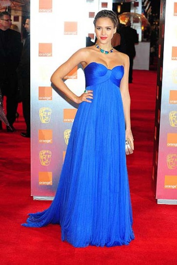 Jessica Alba Blue Formal Prom Evening Dress 2011 BAFTA Awards