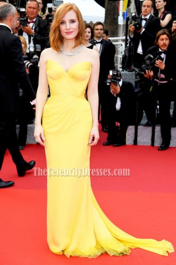 Jessica Chastain Yellow Strapless Chiffon Evening Dress 'Cafe Society' & Opening Gala 2016 Cannes Film Festival 4