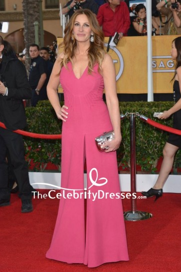Julia Roberts Pink V-neck Wide Leg Jumpsuit 2014 SAG Awards