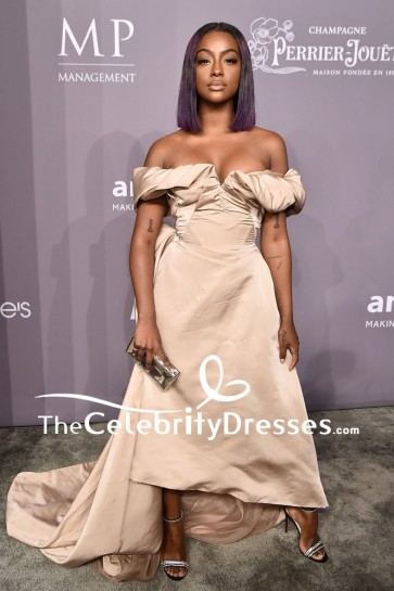 Justine Skye Off-the-shoulder High Low Evening Dress 2018 amfAR Gala New York