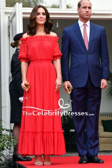 Kate Middleton Red Off-the-shoulder Cocktail Dress Queen's Birthday Garden Party