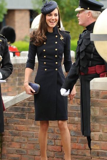Kate Middleton Navy Blue Woolen Buttoned Coat Dress