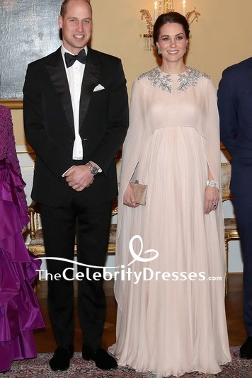 Kate Middleton Chiffon Beaded Caped Princess Gown Dinner At Royal Palace To Norway
