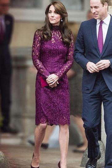 Kate Middleton Grape Lace Long Sleeve Cocktail Dress