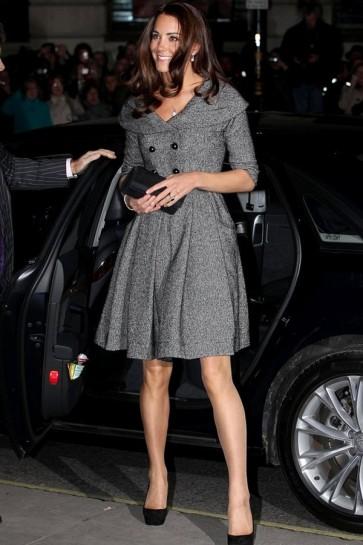 Kate Middleton Gray Lapel Short Coat Dress