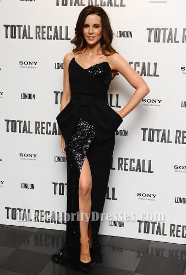 Kate Beckinsale Black Evening Dress Total recall UK premiere