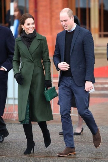 Kate Middleton Dark Green Tea Length Coat With Long Sleeves 2019