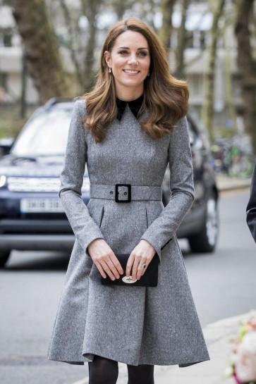Kate Middleton Gray Wool Knee Length A-line Ruffles Prom Dress 2019