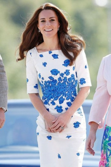 Kate Middleton White And Blue Short Print Summer Dress