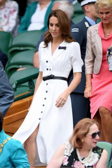 Kate Middleton White Shirtdress With Short Sleeves  Wimbledon 2019