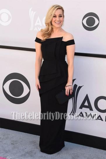 Kellie Pickler Black Off-the-Shoulder Evening Dress 2017 Academy Of Country Music Awards