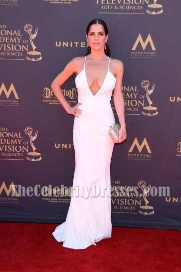 Kelly Monaco White Deep V- Neckline Backless Evening Dress 44th Annual Daytime Emmy Awards