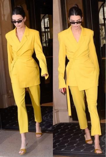 Kendall Jenner Bright Yellow Suit & Pants TCDXH8405