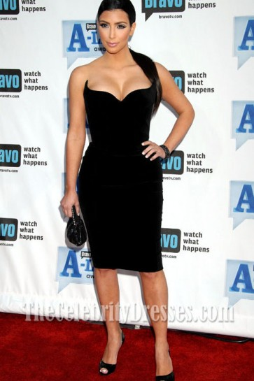Kim Kardashian Black Cocktail Dress Prom Dresses Bravo A-List Awards Red Carpet