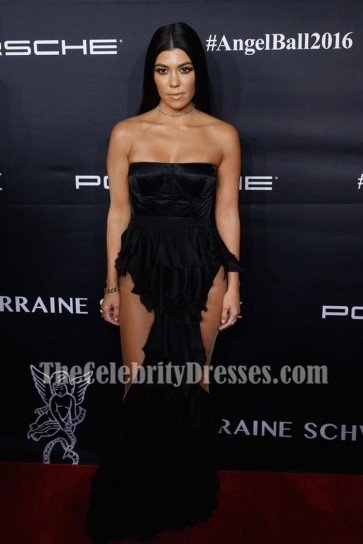 Kourtney Kardashian Black Strapless Corset Evening Prom Gown 2016 Angel Ball
