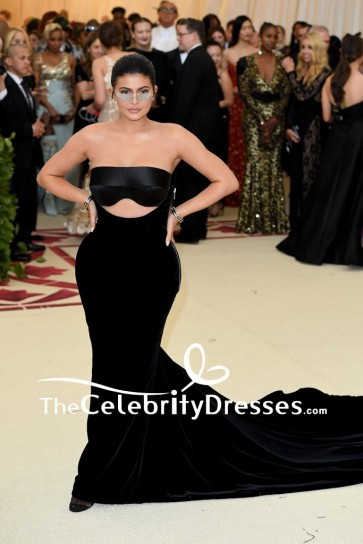 Kylie Jenner Black Cut Out Strapless Evening Formal Dress 2018 Met Gala