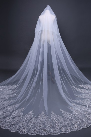 Lace Applique Edge Cathedral Bridal Veils With Lace