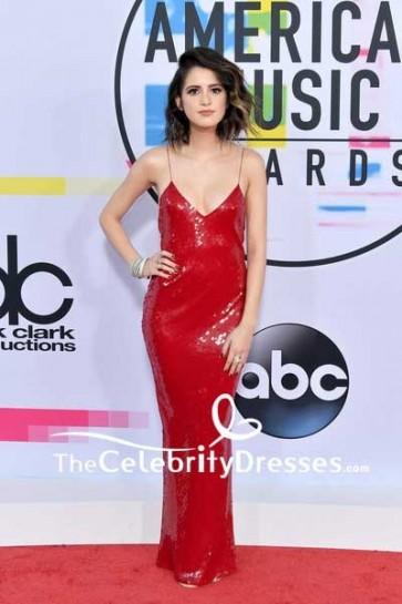 Laura Marano Red Sequins Spaghetti Strap Slip Evening Dress 2017 American Music Awards