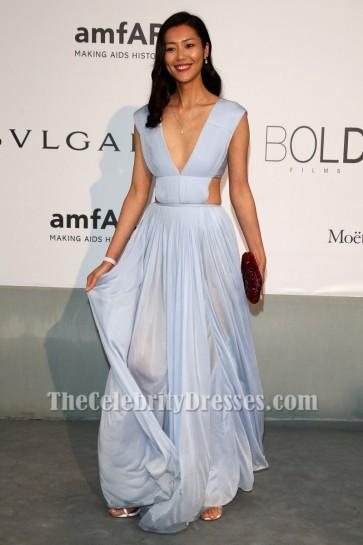 Liu Wen Sexy backless evening gown Le 21ème Gala du Cinéma contre le SIDA de l'amfAR