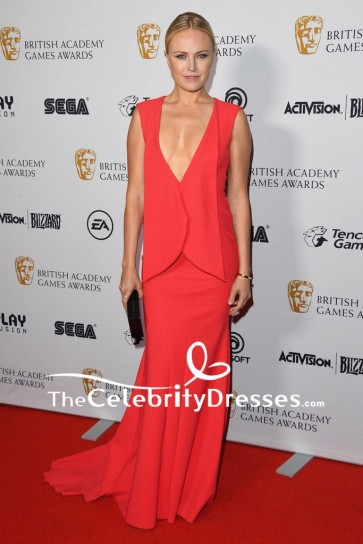 Malin Akerman Red Plunging Evening Dress 2018 British Academy Game Awards