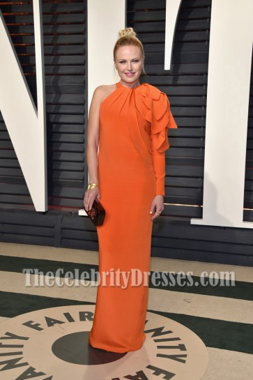Malin Akerman 2017 Vanity Fair Oscar Party Orange One-sleeve Long Evening Prom Gown