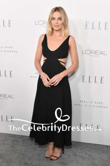 Margot Robbie Black Plunging Cut Out Backless Evening Prom Dress ELLE's 24th Annual Women