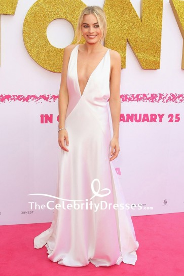 Margot Robbie White Deep V-neck Backless Evening Dress Australian Premiere of I Tonya Red Carpet