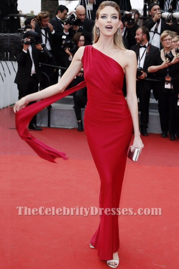 Martha Hunt Red One-shoulder Slip Evening Prom Gown 2017 Cannes Film Festival Screening Of Amant Double