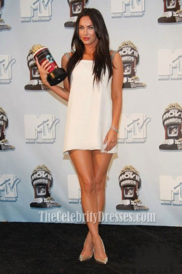 Megan Fox Mini White Cocktail Dress MTV Movie Awards 2008 Celebrity Dresses