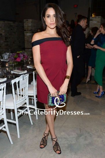 Meghan Markle Dark Red And Black Off-the-shoulder Short Party Dress For A Dinner