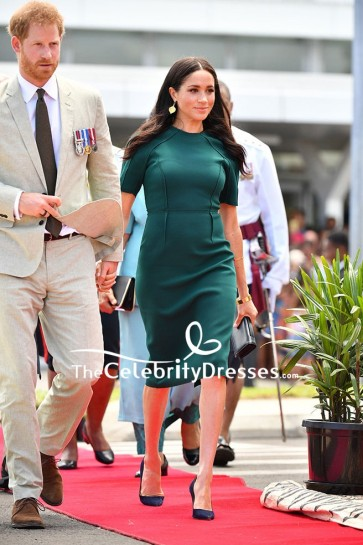 Meghan Markle Green Midi Dress With Short Sleeves In Fiji