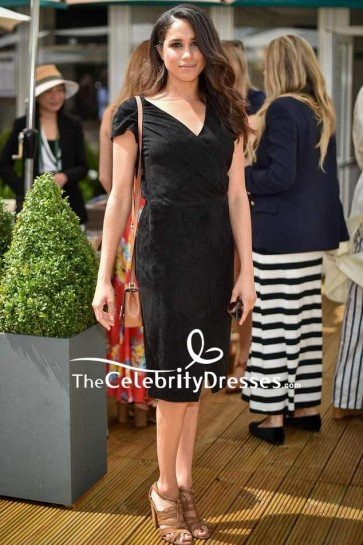 Meghan Markle Velvet Simple Form-fitting Little Black Dress