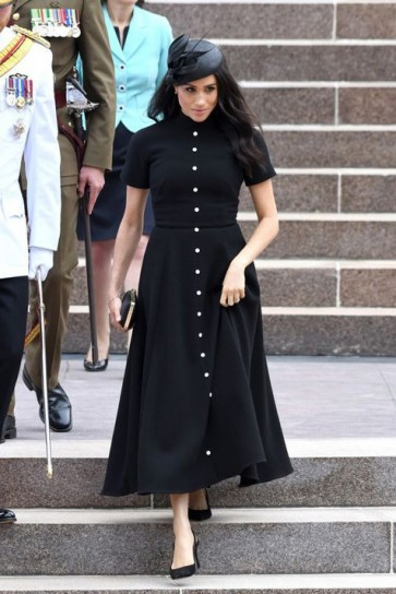 Meghan Markle Black A-line Ankle Evening Dress With Sleeves 2019