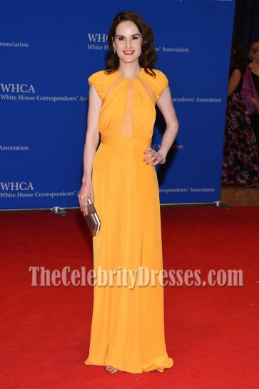 Michelle Dockery Long Cap-sleeves Evening Dress 102nd White House Correspondents' Association Dinner