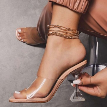 Nude Transparent Open Toe Cup High Heels Shoes For Women
