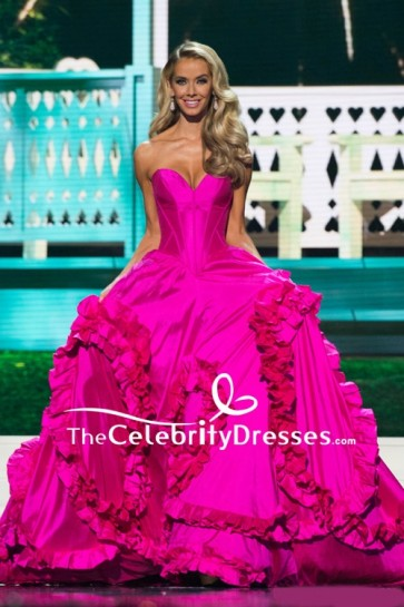 Olivia Jordan Fuchsia Strapless Ruffled Ball Gown Miss USA 2015