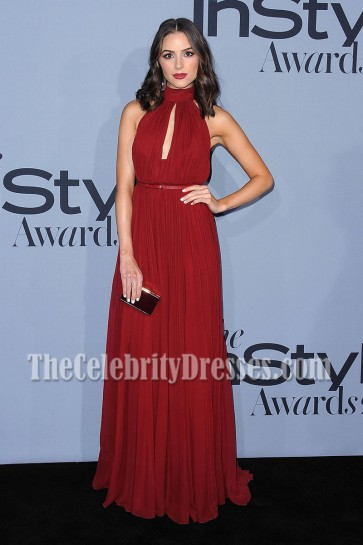 Olivia Culpo Deep Red Halter Evening Prom Dress 2015 InStyle Awards 3