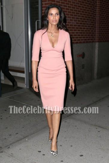 Padma Lakshmi Pink Short Sleeves Deep V-neck Cocktail Dress  4